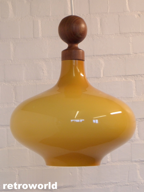 vintage danish glass & teak pendant ceiling light