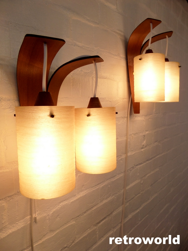 Vintage Pair of teak & fibreglass wall light