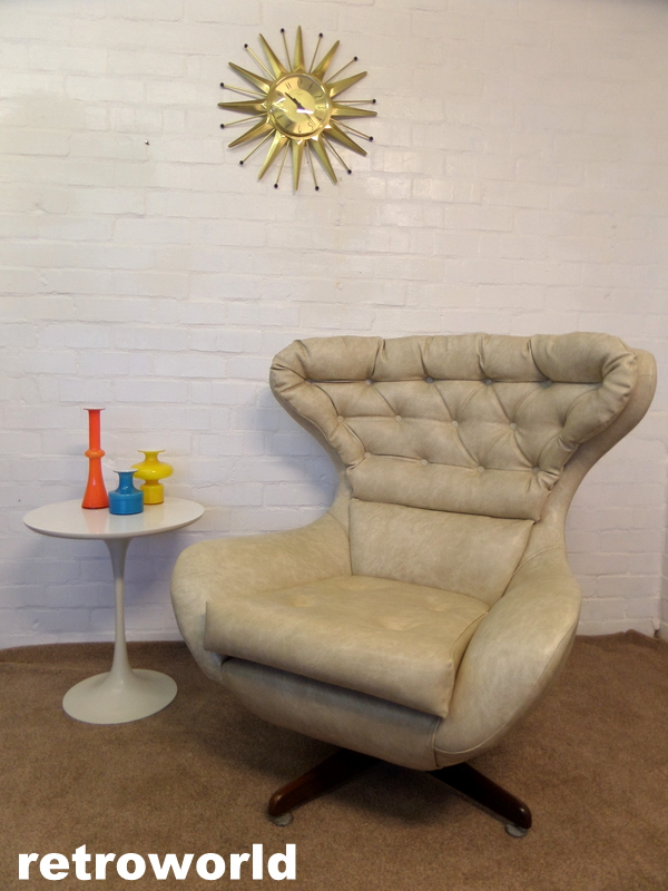 vintage wingback swivel egg armchair