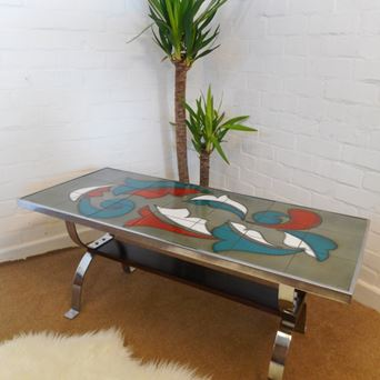 Mid Century RARE RETRO 60s 70s Belgian Tile Topped Coffee Table