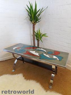 Vintage Belgian Tile Topped Coffee Table